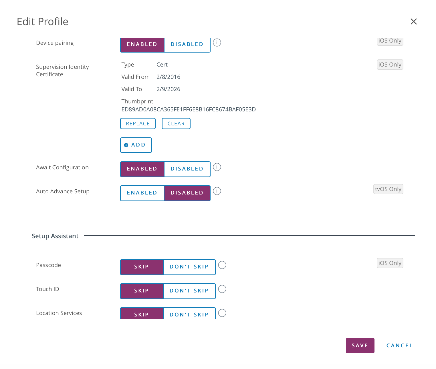 Import your Supervision Identity into a DEP Profile